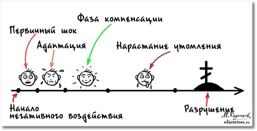 Хронический стресс|Рисунки и инфографика Михаила Казанцева