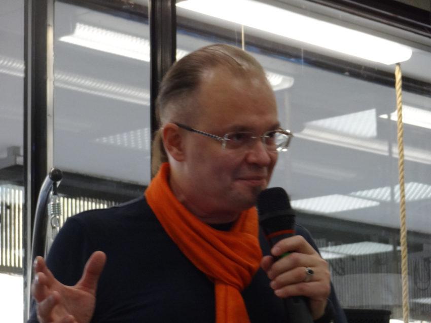 Михаил Казанцев на презентации своей книги в Москве