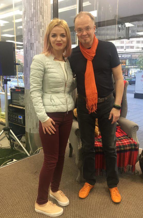 Михаил Казанцев и директор по маркетингу МДК на Новом Арбате Виктория Дьякова